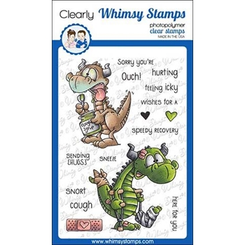Whimsy Stamps GET WELL DRAGONS Clear Stamps DP1034
