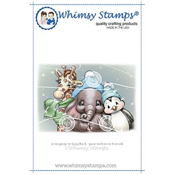 Whimsy Stamps ELLIE JUNGLE  BELL TRIO Cling Stamp C1354