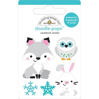 Doodlebug FOXY AND FRIENDS Doodle Pops 3D Stickers Winter Wonderland 6467