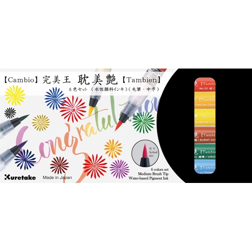 Zig Kuretake CAMBIO TAMBIEN Medium Brush Tip Pens SET 6VA Preview Image