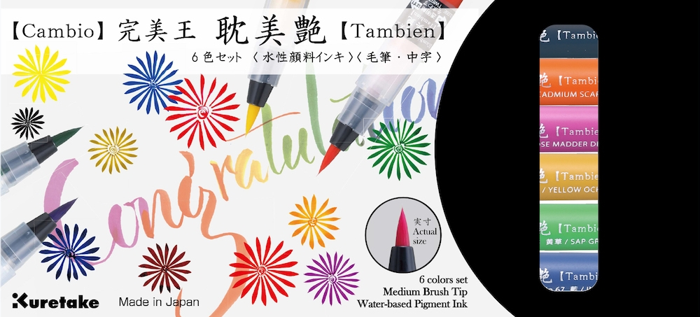 Zig Kuretake CAMBIO TAMBIEN Medium Brush Tip Pens SET 6VB zoom image