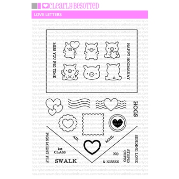 Clearly Besotted LOVE LETTERS Clear Stamps