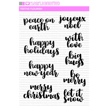 Clearly Besotted FESTIVE FLOURISH Clear Stamps