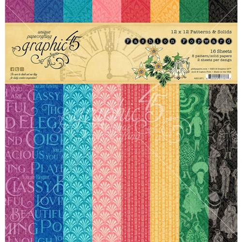 Graphic 45 FASHION FORWARD 12 x 12 Patterns And Solids Paper Pad 4501971* Preview Image