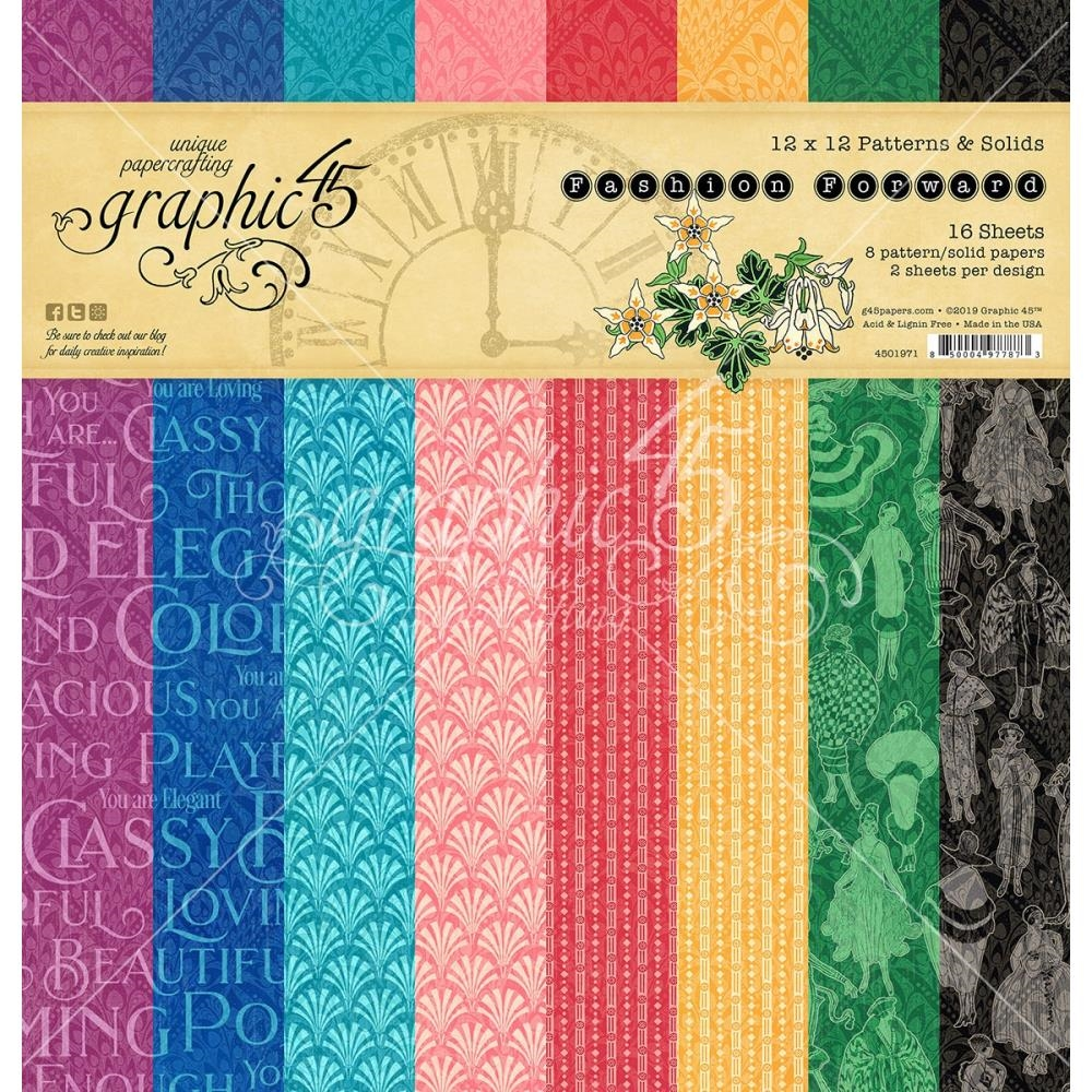 Graphic 45 FASHION FORWARD 12 x 12 Patterns And Solids Paper Pad 4501971* zoom image