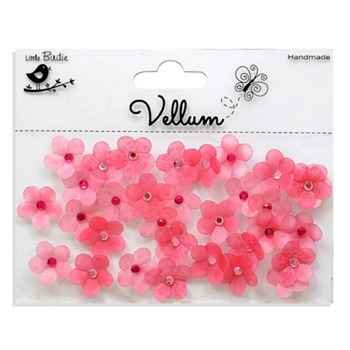 Little Birdie PINK VELLUM JEWELLED FLORETTES Handmade Flowers cr37349