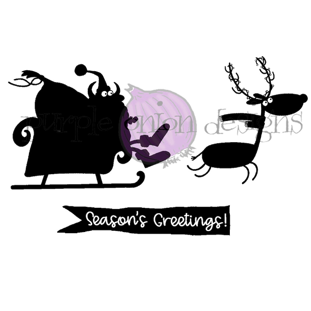 Purple Onion Designs SANTA'S ON THE WAY Cling Stamp pod3004 zoom image
