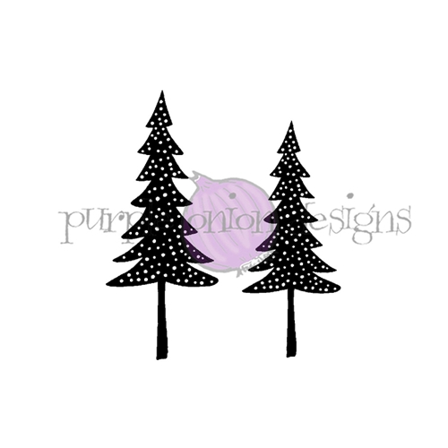 Purple Onion Designs TWIN TREES Cling Stamp pod3005 Preview Image