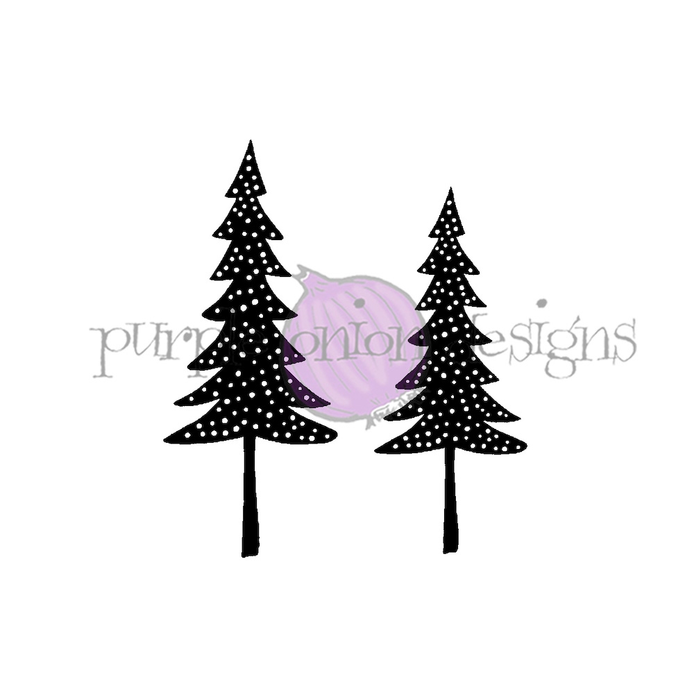 Purple Onion Designs TWIN TREES Cling Stamp pod3005 zoom image