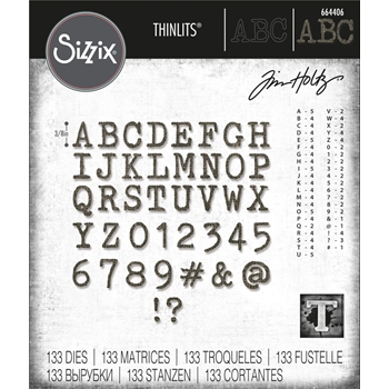 Tim Holtz Sizzix ALPHANUMERIC TINY TYPE UPPER Thinlits Die Set 664406
