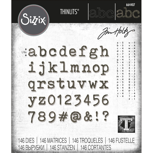 Tim Holtz Sizzix ALPHANUMERIC TINY TYPE LOWER Thinlits Die Set 664407 Preview Image