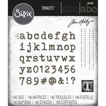 Tim Holtz Sizzix ALPHANUMERIC TINY TYPE LOWER Thinlits Die Set 664407