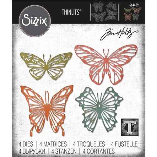Tim Holtz Sizzix SCRIBBLY BUTTERFLIES Thinlits Die Set 664409 Preview Image