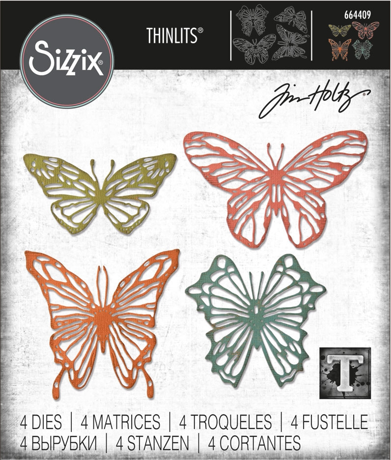 Tim Holtz Sizzix SCRIBBLY BUTTERFLIES Thinlits Die Set 664409 zoom image