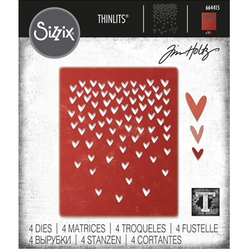 Tim Holtz Sizzix FALLING HEARTS Thinlits Die Set 664415