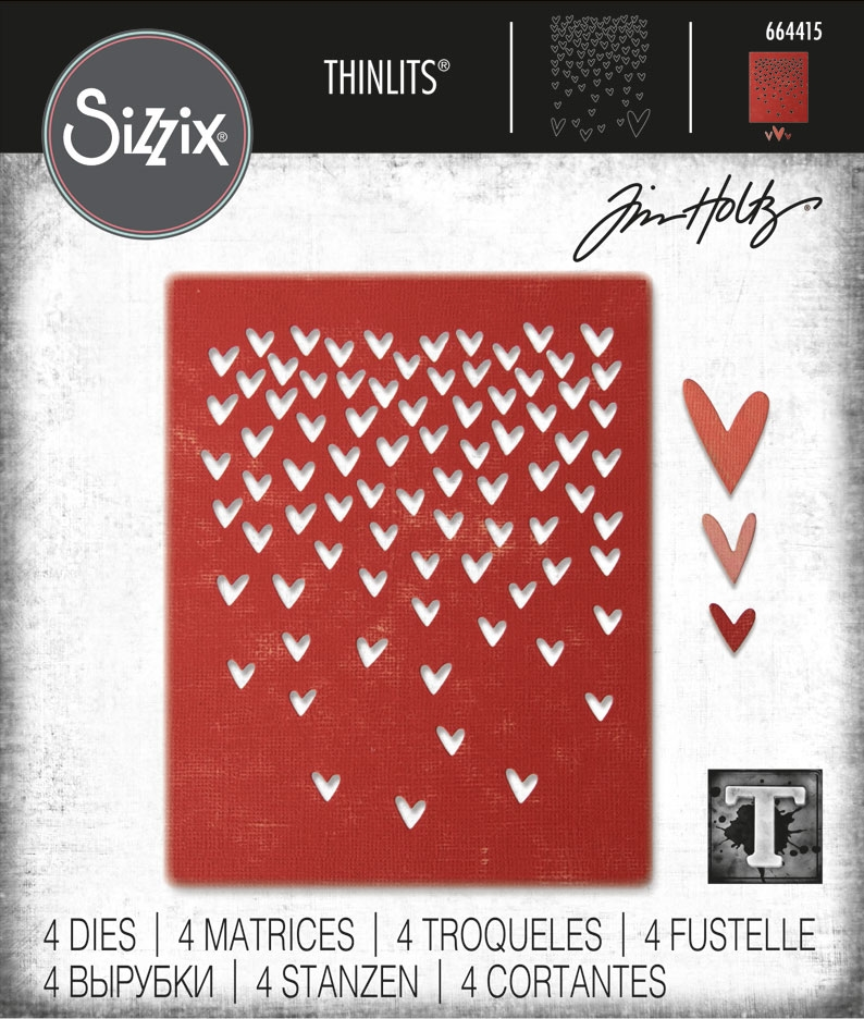 Tim Holtz Sizzix FALLING HEARTS Thinlits Die Set 664415 zoom image