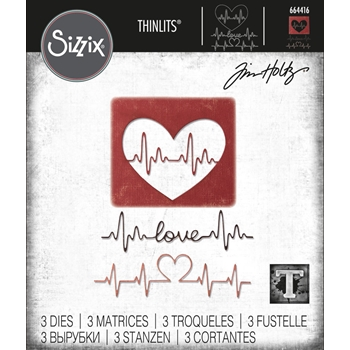 RESERVE Tim Holtz Sizzix HEARTBEAT Thinlits Die Set 664416