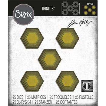 RESERVE Tim Holtz Sizzix STACKED TILES HEXAGONS Thinlits Die Set 664420