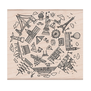 Hero Arts Rubber Stamp ARCHITECTURAL WONDERS OF THE WORLD K6368
