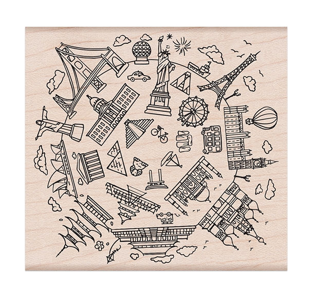 Hero Arts Architectural Wonders of the World Wooden Stamp