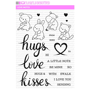 Clearly Besotted LOVE NOTES Clear Stamps