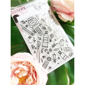 The Ink Road ART SUPPLIES BACKGROUND Clear Stamp Set inkr120