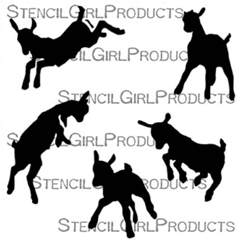 StencilGirl GOAT FAMILY KIDS PLAYING 6x6 Stencil s747 zoom image