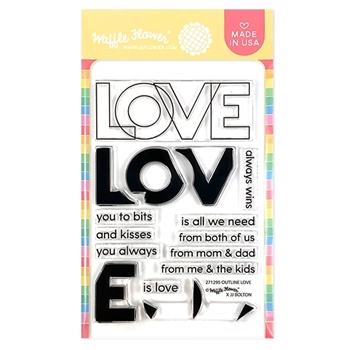Waffle Flower OUTLINE LOVE Clear Stamps 271295