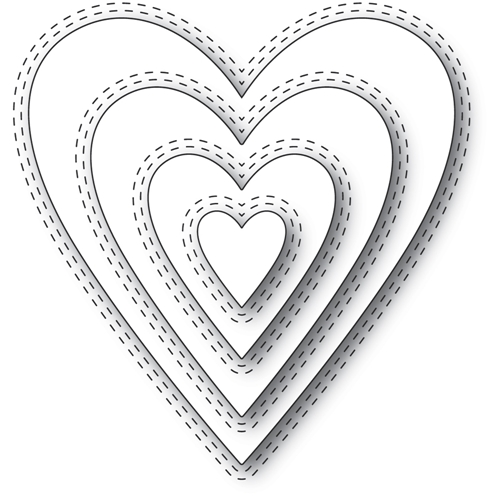 Memory Box DOUBLE STITCH HAPPY HEART CUT OUT Craft Dies 94361 Preview Image