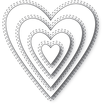Memory Box DOUBLE STITCH HAPPY HEART CUT OUT Craft Dies 94361