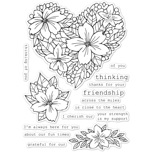 Memory Box Clear Stamps FRIENDSHIP FLORAL HEART cl5250 Preview Image