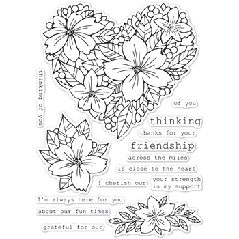 Memory Box Clear Stamps FRIENDSHIP FLORAL HEART cl5250