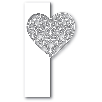Poppy Stamps FLORAL LACE HEART SPLIT BORDER Craft Die 2285