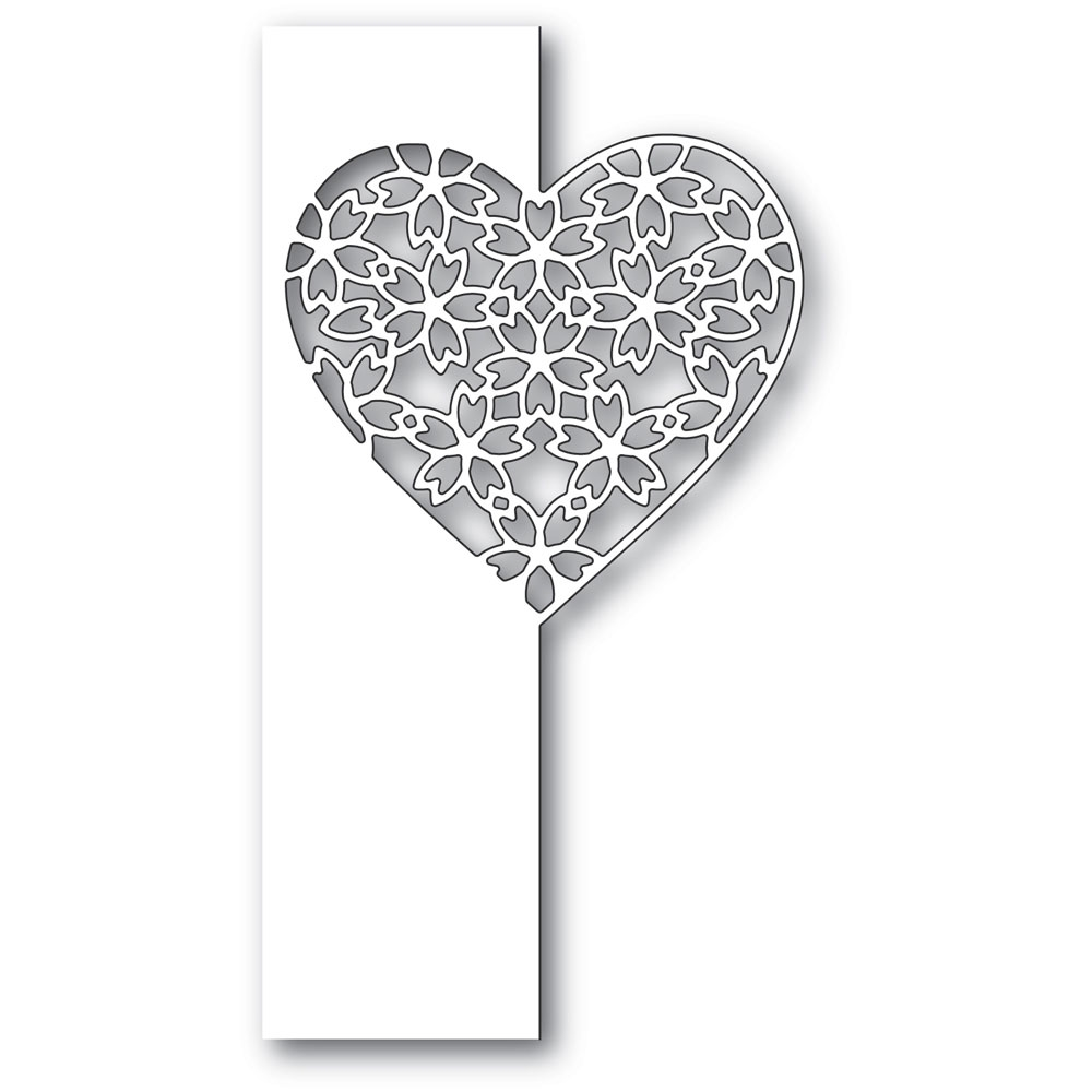 Poppy Stamps FLORAL LACE HEART SPLIT BORDER Craft Die 2285 zoom image