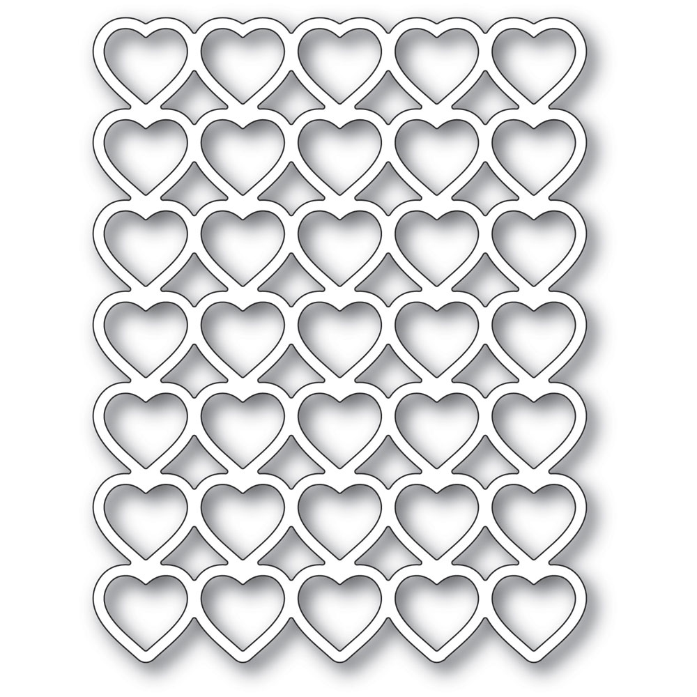 Poppy Stamps BANDED HEARTS Craft Die 2287 zoom image