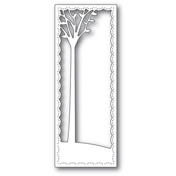 Poppy Stamps TALL SKYLINE TREE FRAME Craft Die 2291