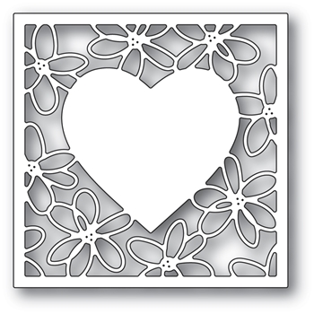 Poppy Stamps SCRIBBLE DAISY HEART FRAME Craft Die 2297