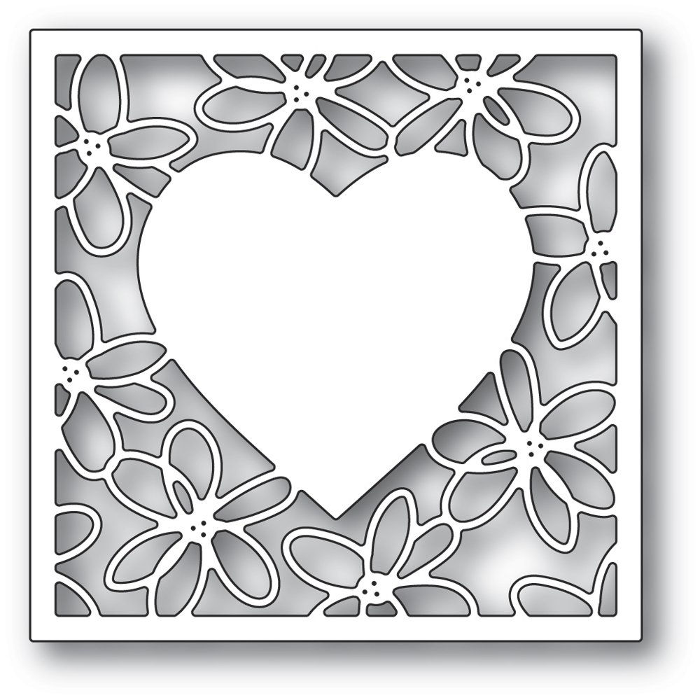 Poppy Stamps SCRIBBLE DAISY HEART FRAME Craft Die 2297 zoom image