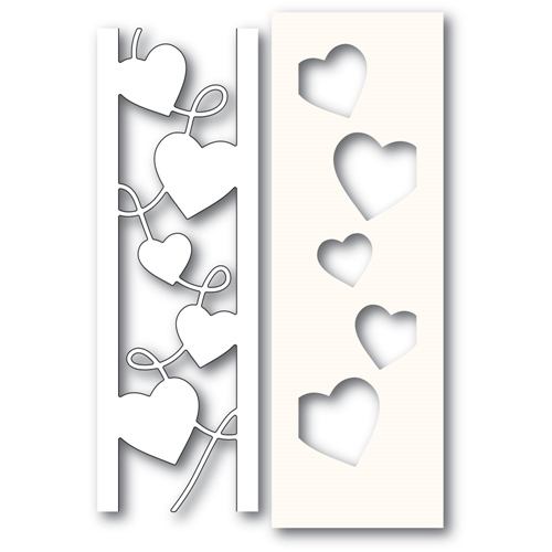 Poppy Stamps CURVY HEART SIDE STRIPS Craft Die and Stencil 2301 Preview Image