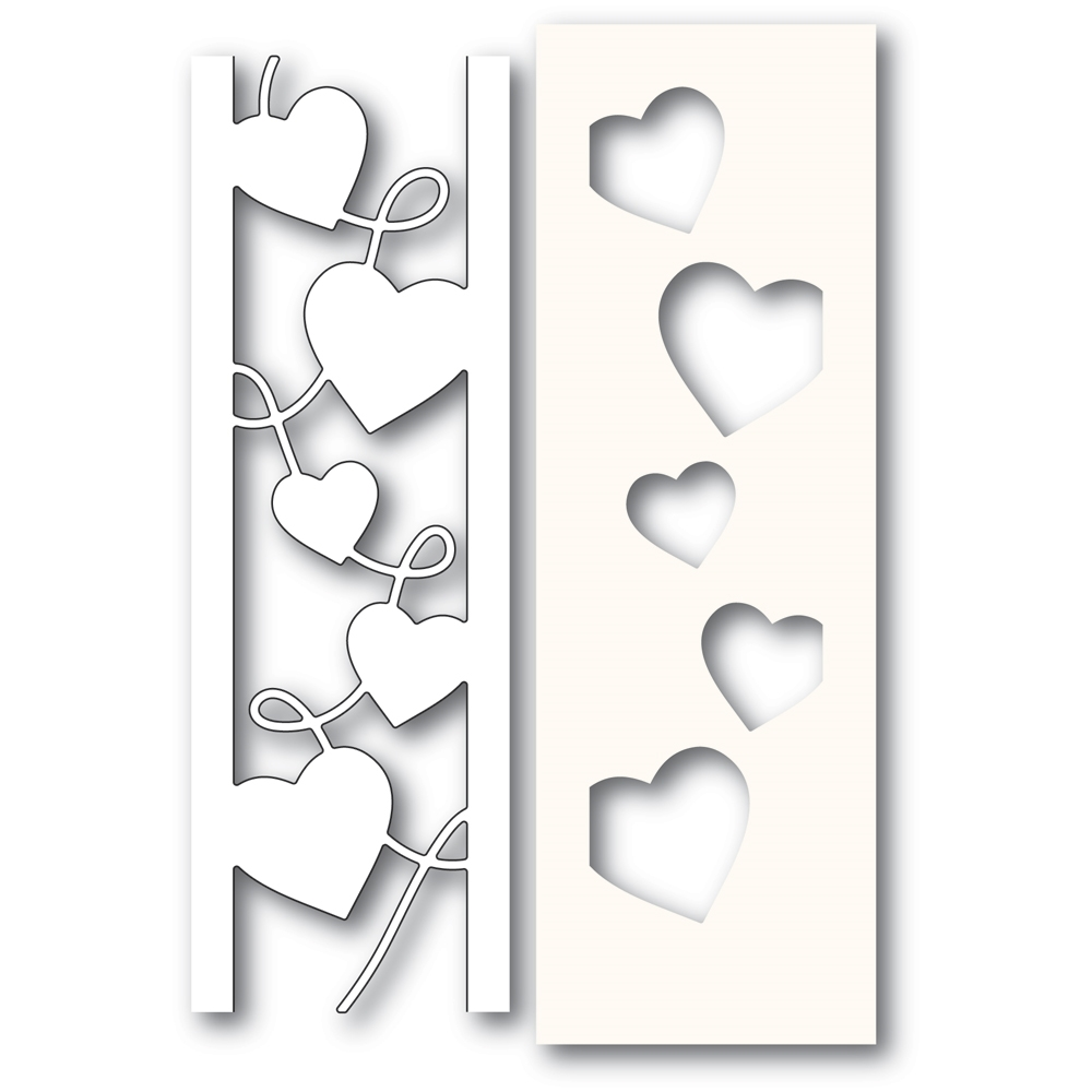 Poppy Stamps CURVY HEART SIDE STRIPS Craft Die and Stencil 2301 zoom image