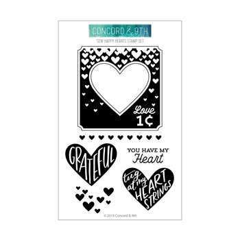RESERVE Concord & 9th SEW HAPPY HEARTS Clear Stamp Set 10751
