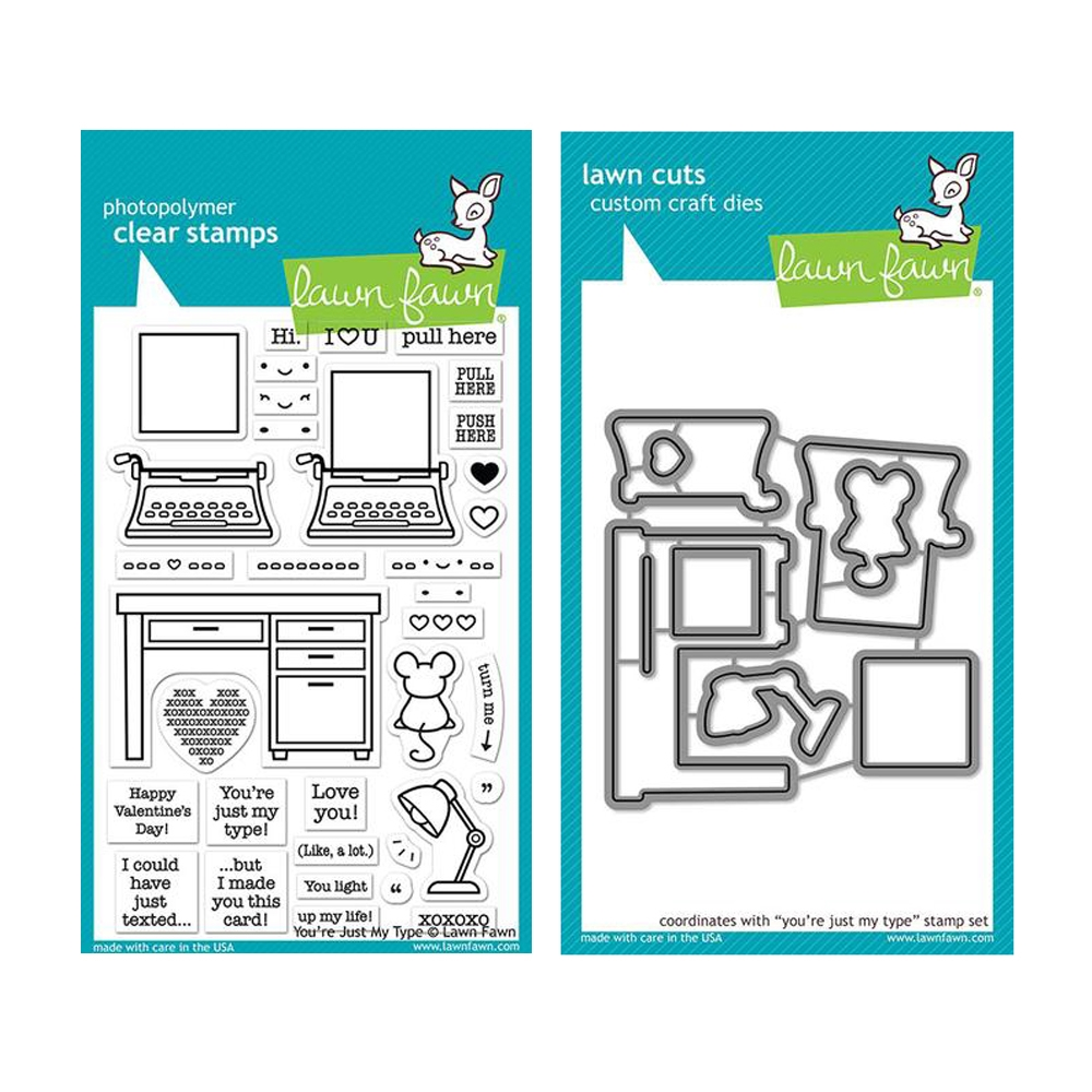 Lawn Fawn SET YOU'RE JUST MY TYPE Clear Stamps and Dies LLFYMT zoom image