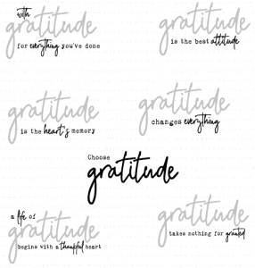 Papertrey Ink WORDS TO LIVE BY GRATITUDE Clear Stamps 3574