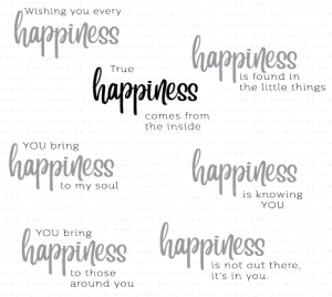 Papertrey Ink  WORDS TO LIVE BY HAPPINESS Clear Stamps 3625