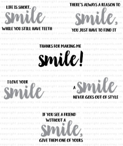 Papertrey Ink  WORDS TO LIVE BY SMILE Clear Stamps 3638