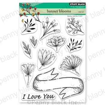Penny Black Clear Stamps BANNER BLOOMS 30-664*