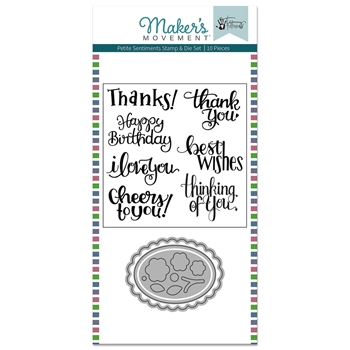 Maker's Movement SWEET PETITE SENTIMENTS Clear Stamp And Die Set msd213