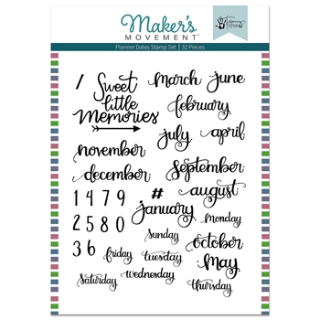 Maker's Movement PLANNER DATES Stamp Set mos222