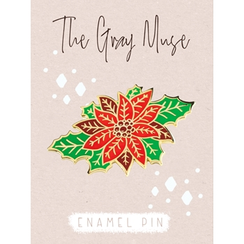 The Gray Muse POINSETTIA Enamel Pin tgm-d19-p91*