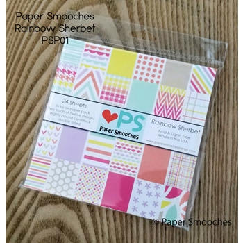 Paper Smooches RAINBOW SHERBET 6x6 Inch Paper Pack PSP01